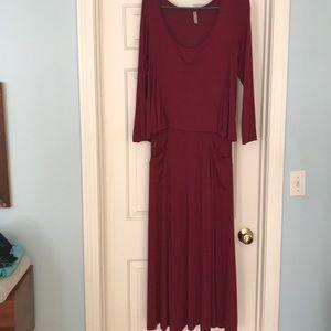 Last Tango cranberry maxi dress in EUC.